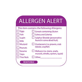 5cm² Multi Allergen Label 500 removable